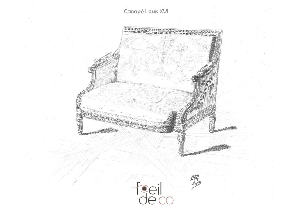 L 39 oeil de co canap louis xvi l 39 oeil de co - Dessiner un meuble en perspective ...