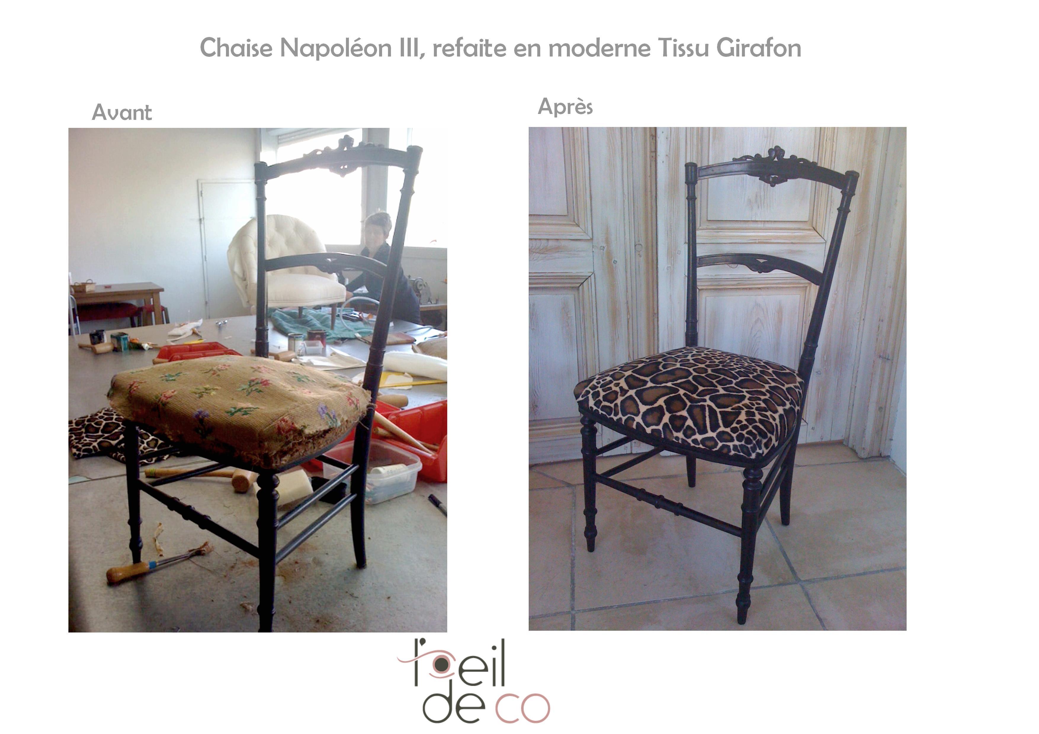 chaise_napoleonIII_tissu_girafon