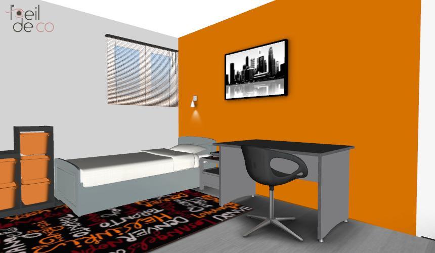 Chambre garcon orange et vert design de maison for Chambre orange et vert anis