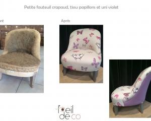 Petit fauteuil crapaud, tissu papillons et uni violet