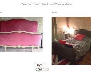 Tête de lit Louis XV, refaite en moderne