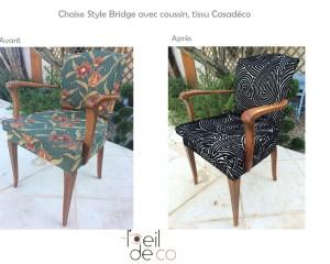 Chaise Bridge avec coussin, tissu Casadéco