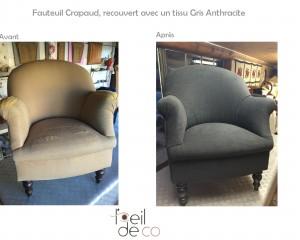 Fauteuil Crapaud – Nouveau tissu Gris Casal