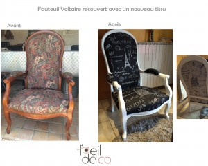 Fauteuil Voltaire, tissu Paris