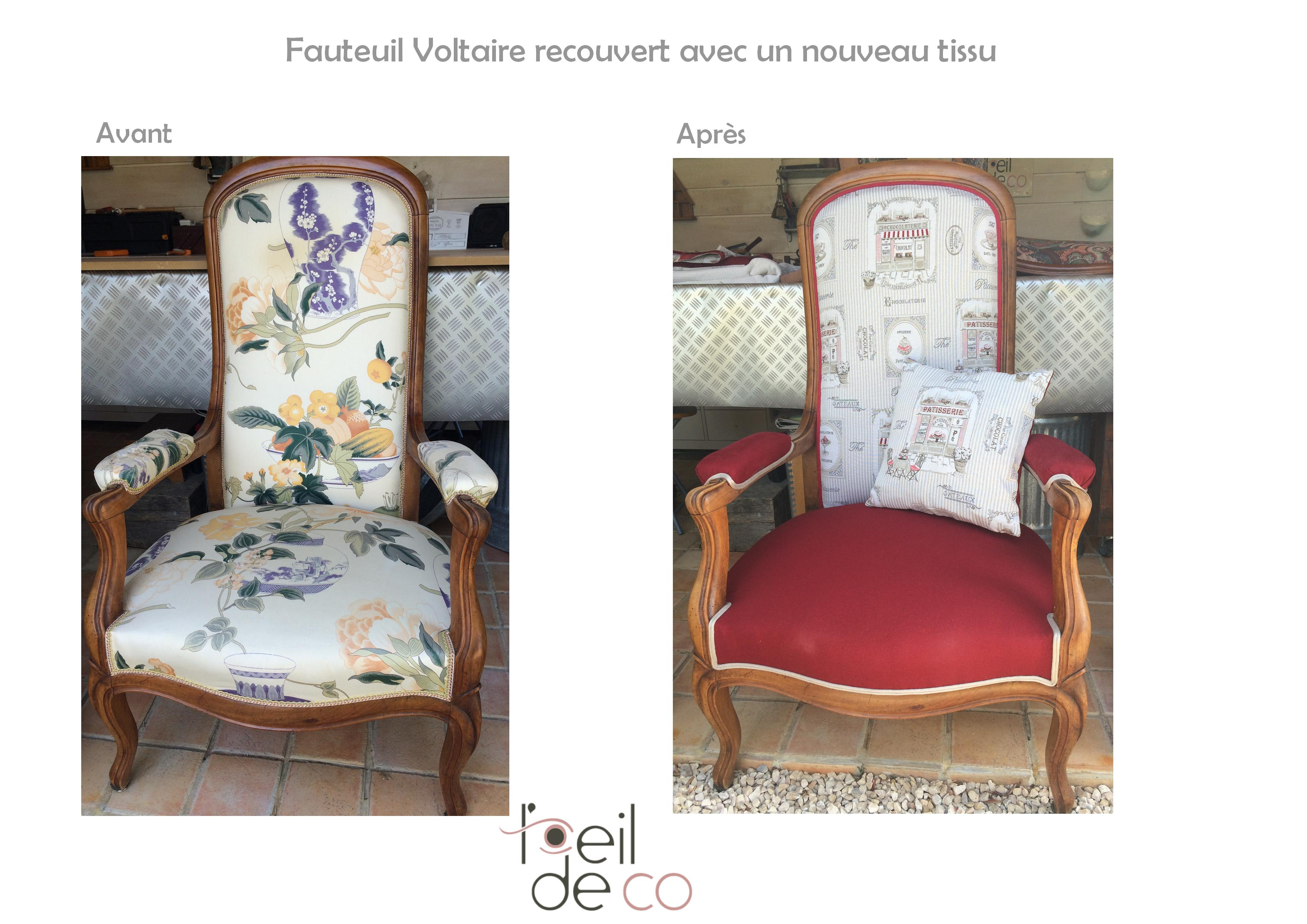 l 39 oeil de co fauteuil voltaire nouveau tissu rouge et beige l 39 oeil de co. Black Bedroom Furniture Sets. Home Design Ideas