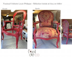 Fauteuil Voltaire Louis-Philippe Rouge