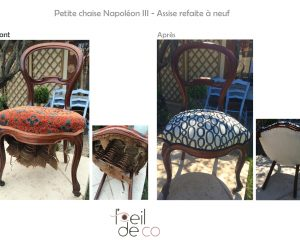 Chaise Napoléon III – Assise refaite à neuf et nouveau tissu