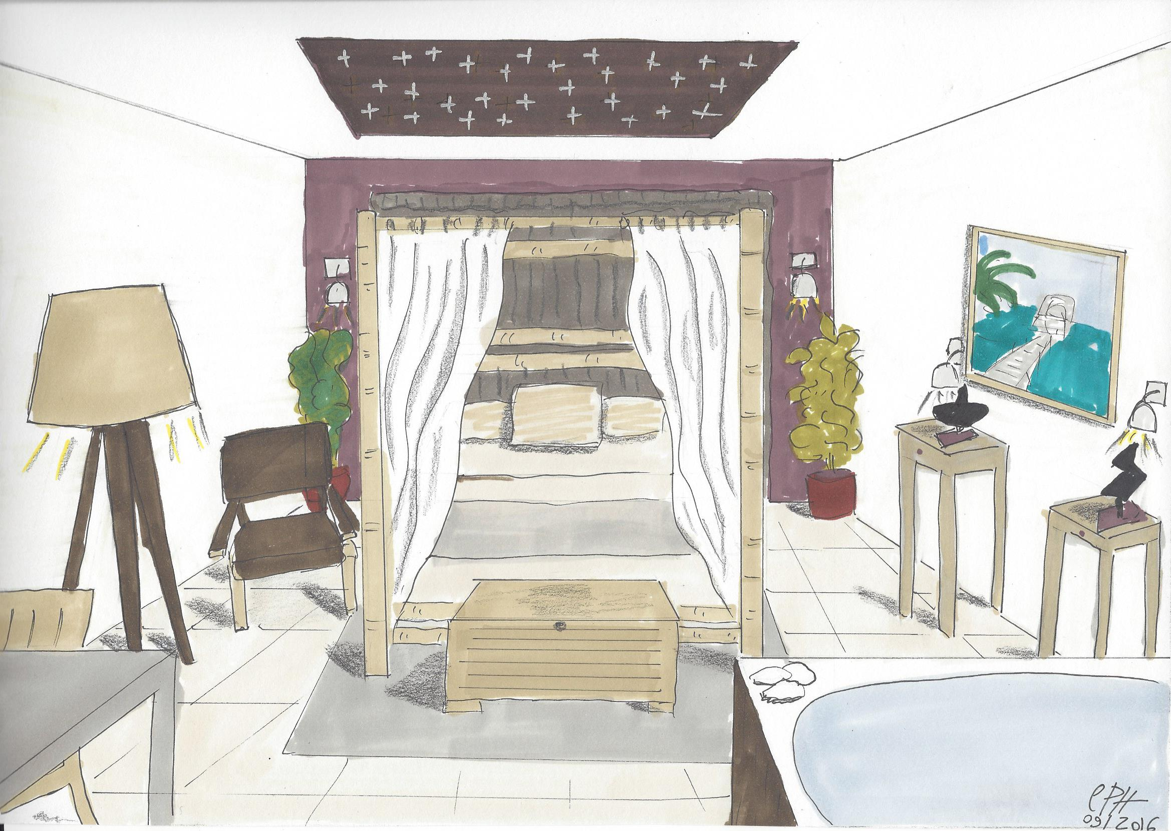 Stunning chambre en perspective dessin pictures design for Chambre en perspective