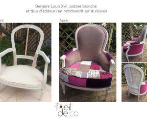 Bergère Louis XVI – Tissus Patchwork