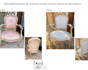 Cabriolet Napoléon III – Nouveau tissu en lin et clous blancs