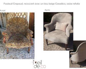 Fauteuil Crapaud, assise refaite et nouveau tissu