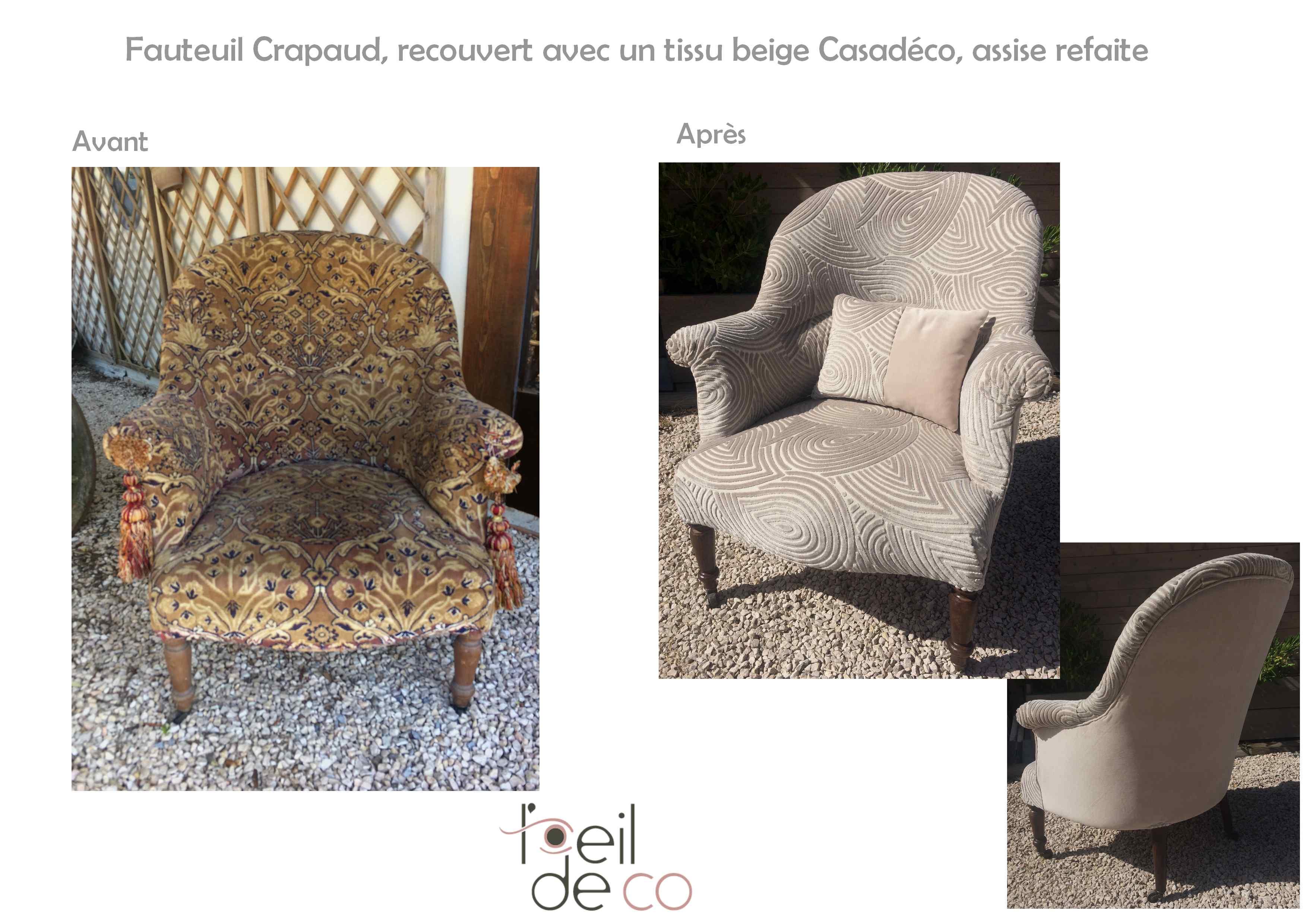 l 39 oeil de co fauteuil crapaud assise refaite et nouveau tissu l 39 oeil de co. Black Bedroom Furniture Sets. Home Design Ideas