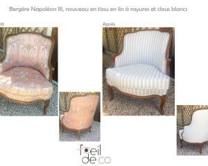 Bergère Napoléon III – Tissu en lin, rayé gris et blanc