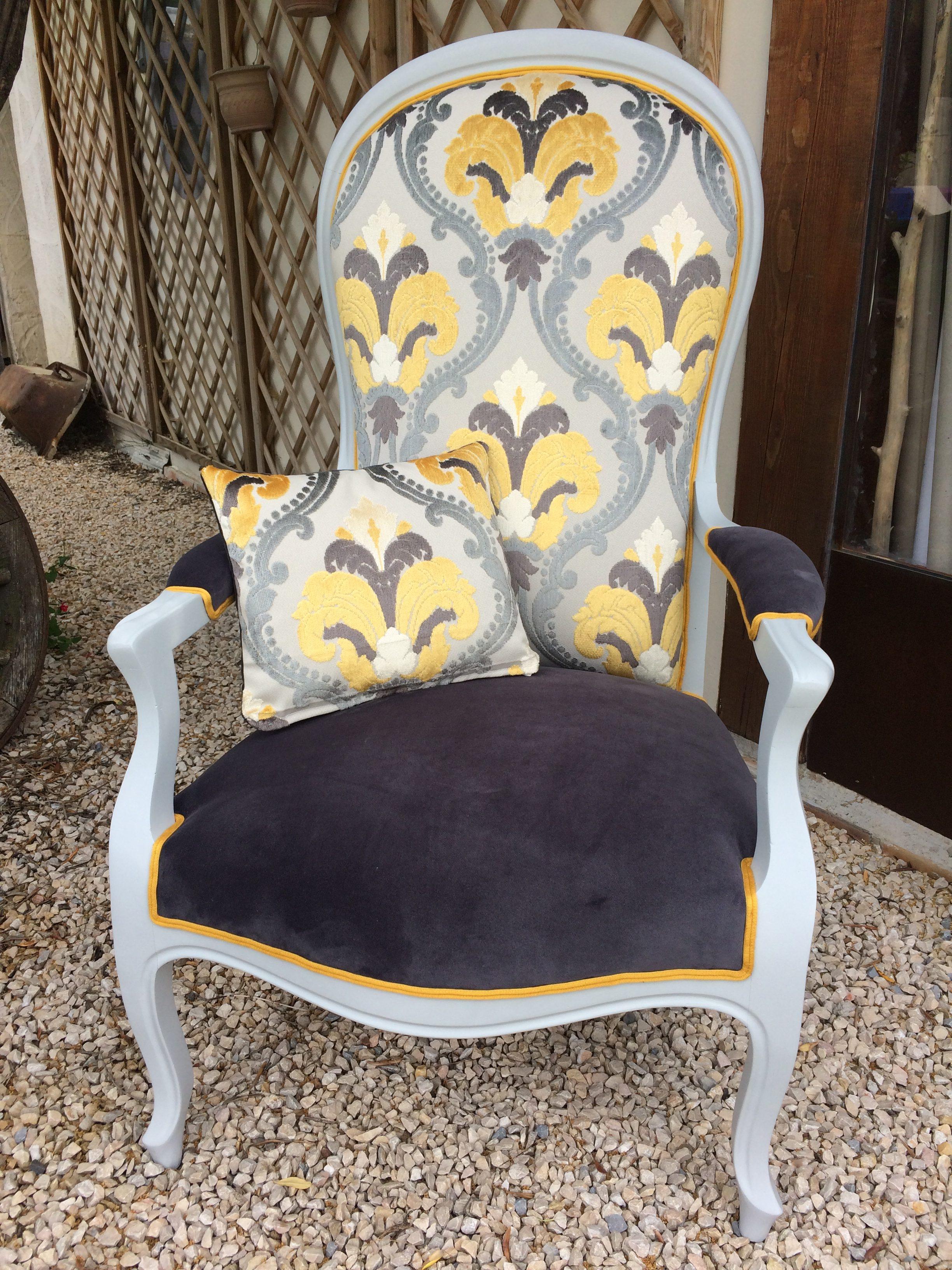 L\'OEIL DE CO fauteuil voltaire gris et jaune - L\'OEIL DE CO