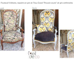 Fauteuil Voltaire Gris et jaune