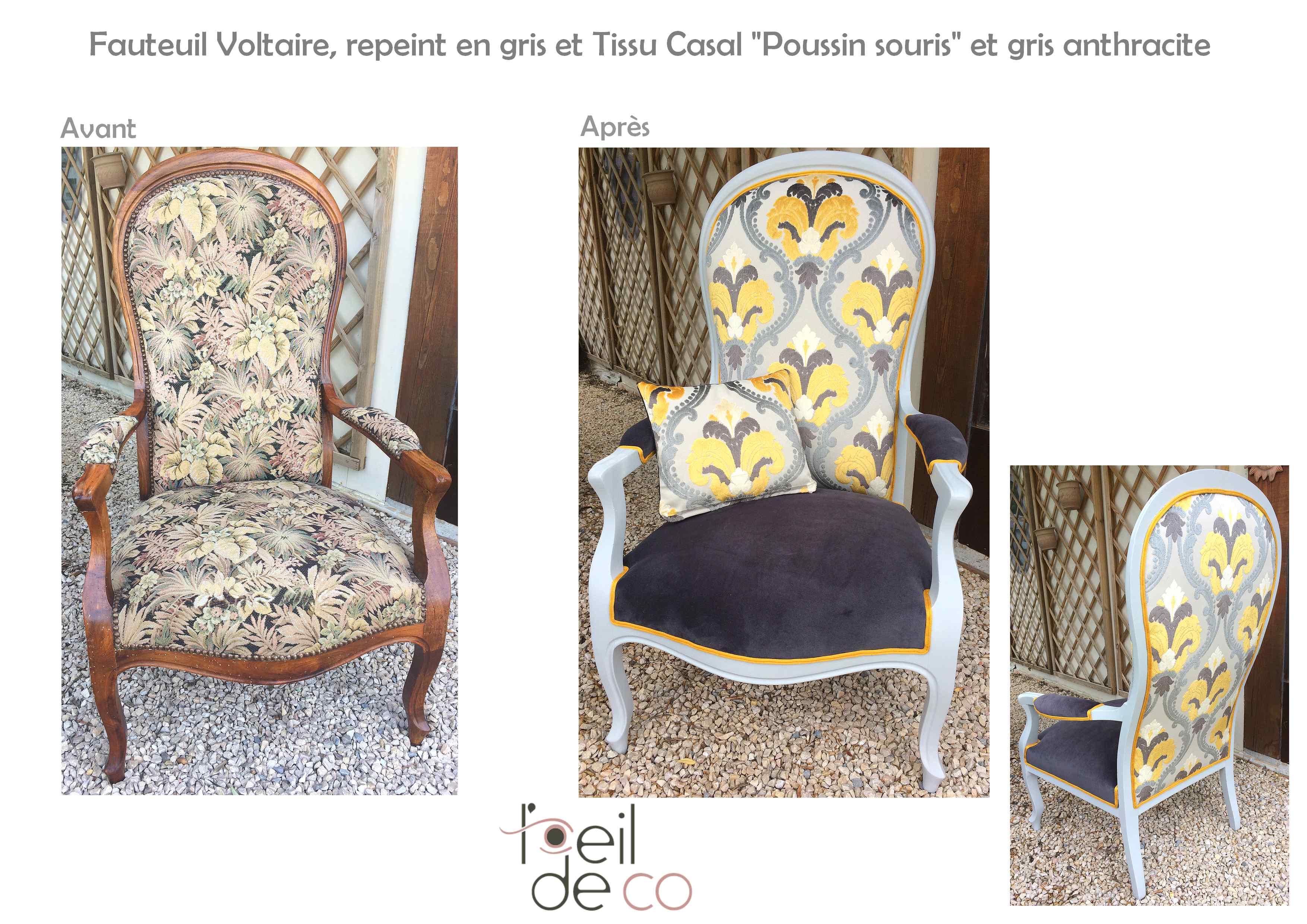 l 39 oeil de co fauteuil voltaire gris et jaune l 39 oeil de co. Black Bedroom Furniture Sets. Home Design Ideas
