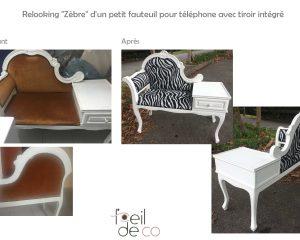 Relooking «Zèbre» d'un petit fauteuil téléphone