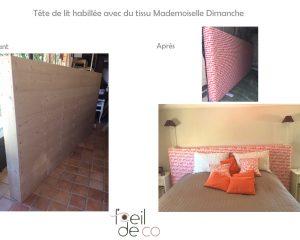 Tête de lit habillée avec du tisu Mademoiselle Dimanche