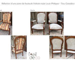 Réfection d'une paire de fauteuils Voltaire