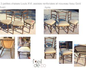 3 chaises Louis XVI Tissu Gold