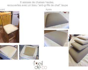 8 assises de chaises hautes, tissu taupe