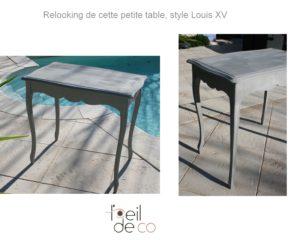 Relooking d'une petite table Louis XV, en gris