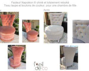 Relooking d'un petit fauteuil Napoléon III