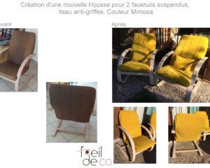 Création d'une housse de fauteuil – Tissu jaune mimosa